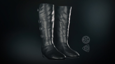 Black Leather Boots 2 - 3D Model