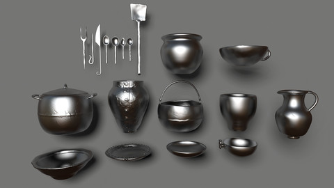 Medieval Dishes Basemesh Collection