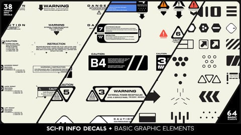 SCI-FI Info Decals + Base Graphic Elements
