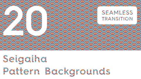 20 Seigaiha Background Textures. Seamless Patterns.