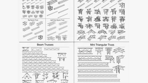 Trusses Square Triangular Beam Bundle Collection (170 Modular Pieces)