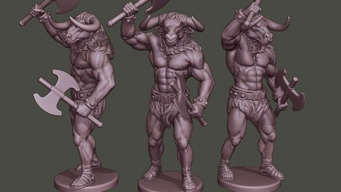 Minotaur Warrior Stand2 two Axes