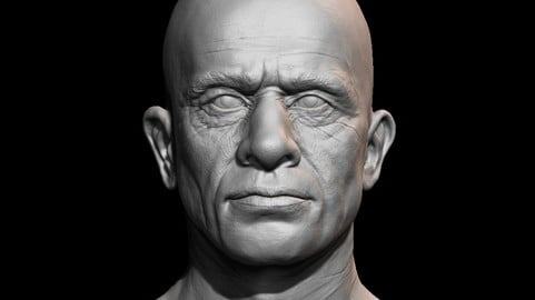 High detailed mid age man face with UV and low poly