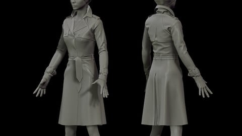 Female Trench Coat (Marvelous Designer)