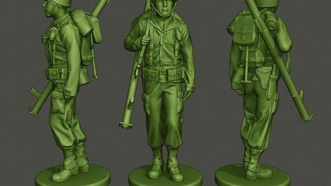 American soldier ww2 Bazooka walk  A4