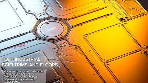 Sci-Fi Trims and Floor Set 1-Tech Industrial