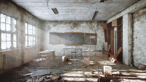 Abandoned classroom in chernobyl