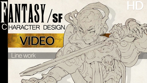 Fantasy Character design Linework process  Video + with some text.