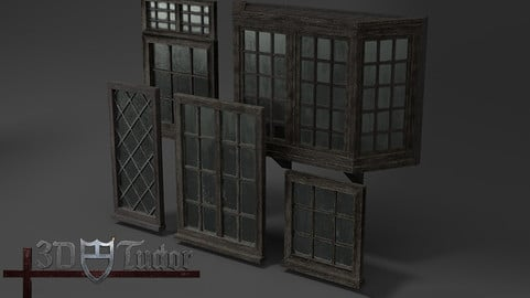 Medieval Windows Set of Five Low-poly High detailed 3D model