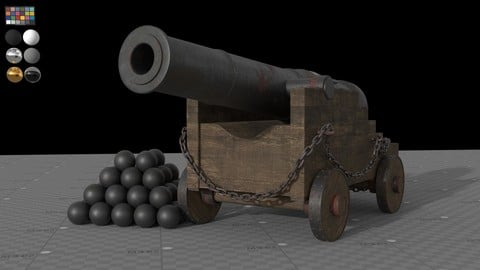 Old Historical Pirate Ship Cannon