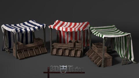 Medieval Market Stall Tent Set Collection 3D Model with Crates