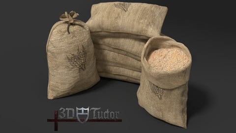 Food Sack Grain Tied Open Stacked 3D Model