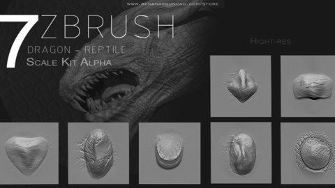 ZBRUSH - Dragon Scale Kit Alpha