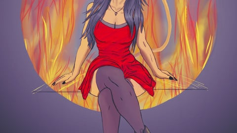 Girl on Fire || Beautiful Witch in red dress || Digital Drawing No. 47 ||