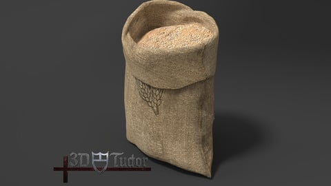 Food Sack Grain Open 3D Model