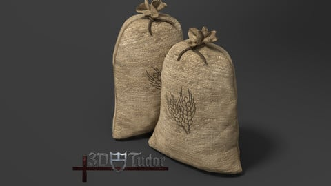 Food Sack Grain Tied 3D Model