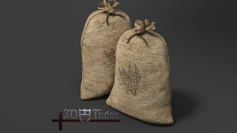 Food Sack Grain Tied 3D Model