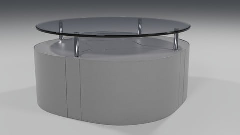 Coffee table with leather tabourets