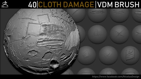 Zbrush - Cloth Damage VDM Brush