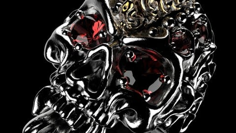 Badass Gothic Punk Skull Ring With Setting  CAD  3D Model