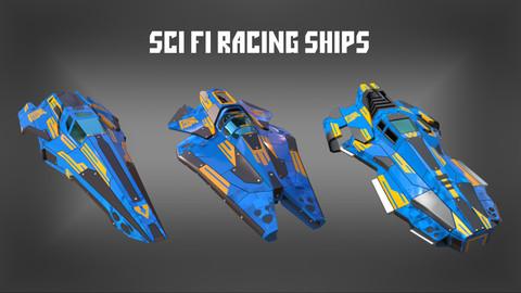 Sci Fi Racing Ships x3