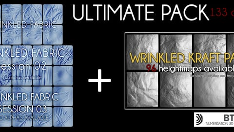 133 alphas ultimate pack - wrinkled fabric, wrinkled kraft paper