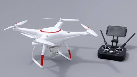 White drone with remote control