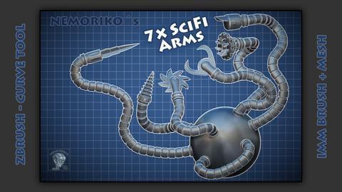 Zbrush Scifi Arm IMM Brush (TriParts) + Mesh