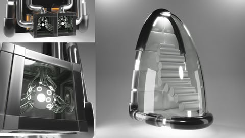 Capsule Space Ship and Power Core 3D model