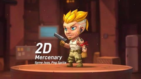 2D Chibi Mercenary Game character (Spine)