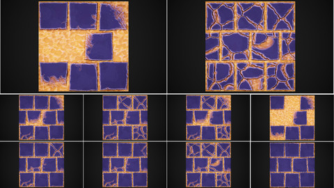 Stylized stones and sand 4k tile texture 10 variants