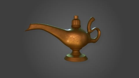 Aladdin Lamp PBR Low-poly 3D model