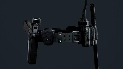 Police Officer Gun Weapon Belt Uniform Lowpoly 3D Game Ready Model