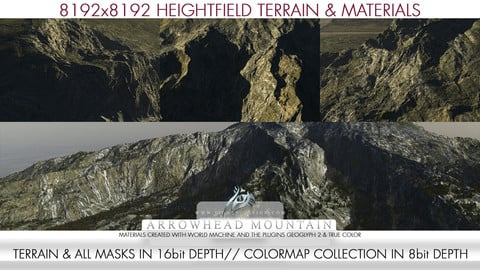 8k Heightfield Terrain & Materials - Arrowhead Mountain