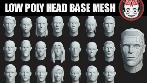 Low poly head base meshes pack