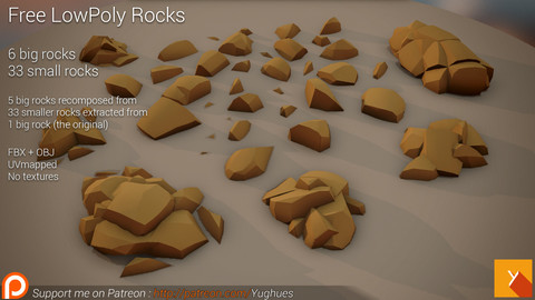Yughues LowPoly Rocks 01