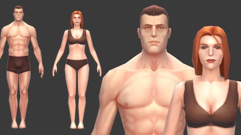 Low poly body base meshes
