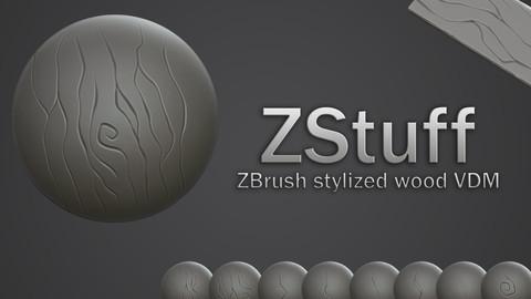 ZBrush stylized wood VDM brush