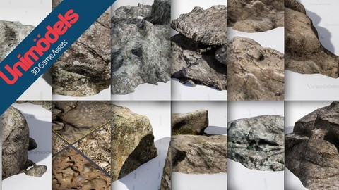 Unimodels Mountain Rocks photoscanned for Unreal Engine 4.18 or higher