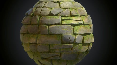 Stylized Mossy Brick Wall - Substance Designer