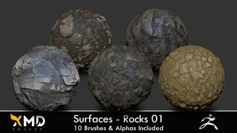 Surfaces - Rocks 01 - ZBrush Brushes & PBR Textures