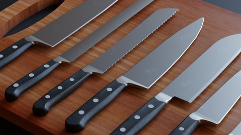 Kitchen Knifes pack - Low Poly Game ready prop 3D model