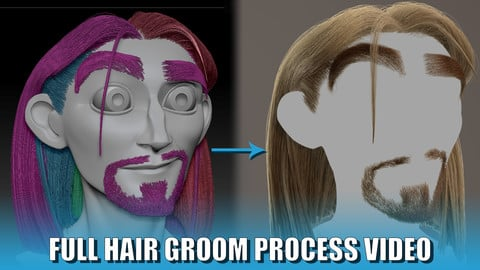 Cartoon character Full Hair Groom Fibermesh to Xgen (Full process video hair, beard and eyebrows)