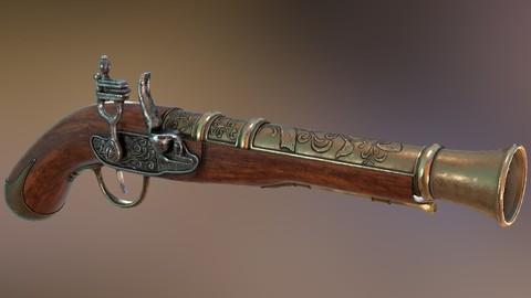 Pirate's Flint Lock Gun ( Individual parts,Textures Sets )