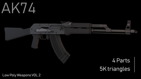 Low Poly Assaults Rifles Collection