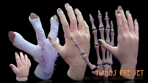 Hands Preset - Hand Painted high poly models