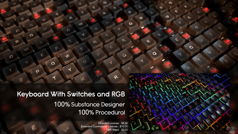 Keyboard Material  - Substance Designer - 100% Procedural
