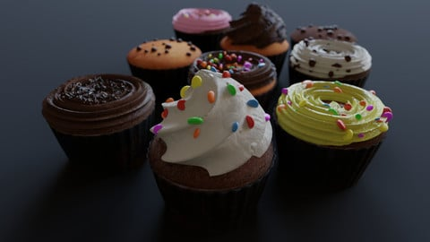 Cupcakes High Poly Pack 3D model