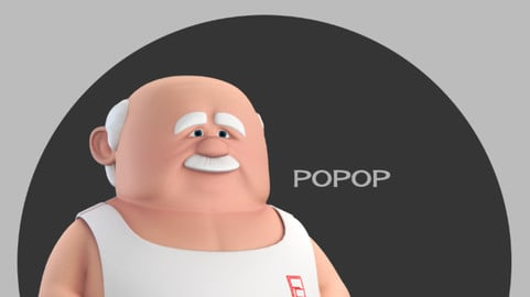 Popop Stylised Male Elderly Charcter AR friendly texture atlas 3D model