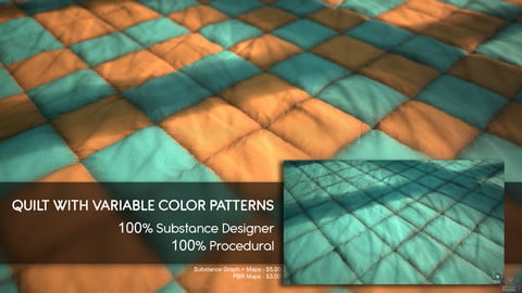 Quilt Material - Substance Designer - 100% Procedural